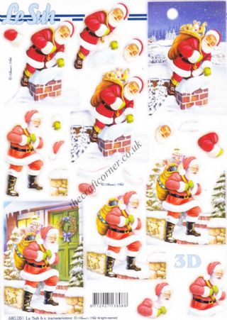 Father Christmas Delivering Parcels Die Cut 3d Decoupage Sheet